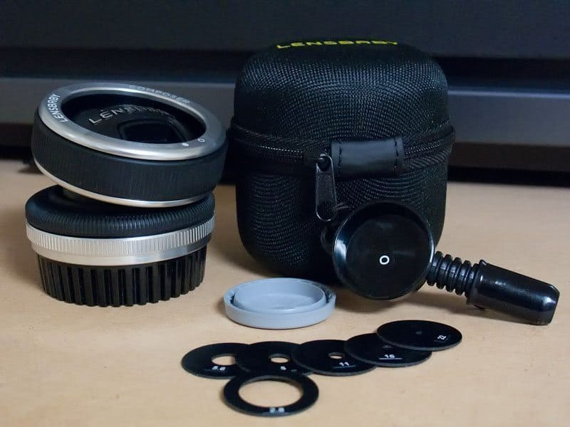 Lensbaby Composer with case and aperture rings etc.