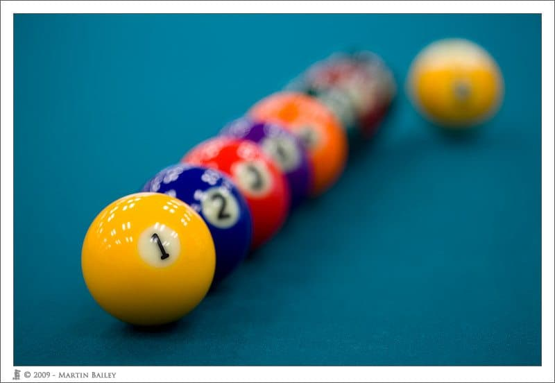 Billiard Balls @ F2.8 with Original 100mm Macro Lens