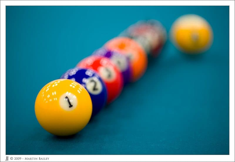 Billiard Balls @ F2.8 with new 100mm Hybrid IS Macro Lens