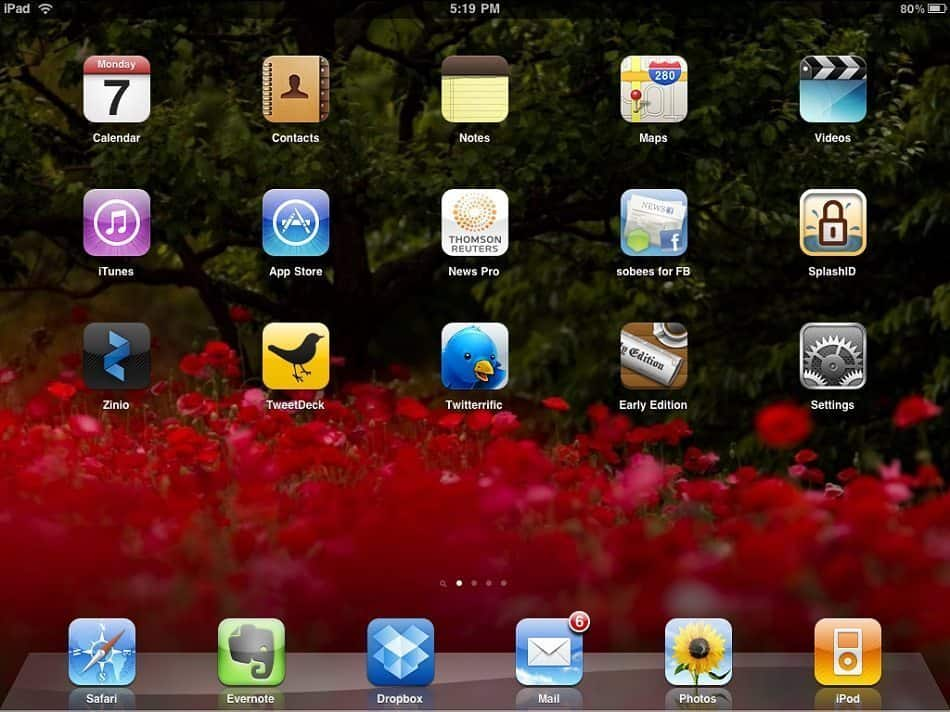 MBP iPad Home Screen