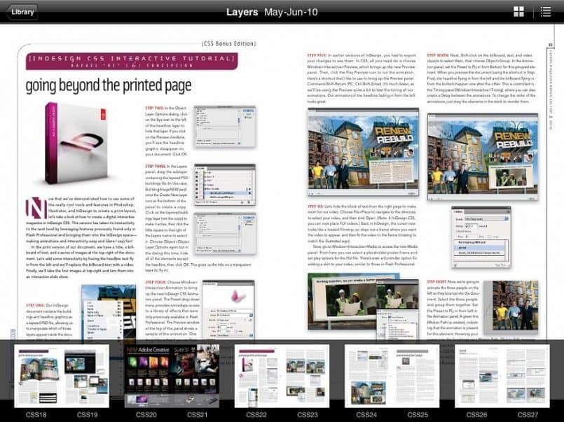 Layers Magazine in Zinio - Double Page with Thumbnails