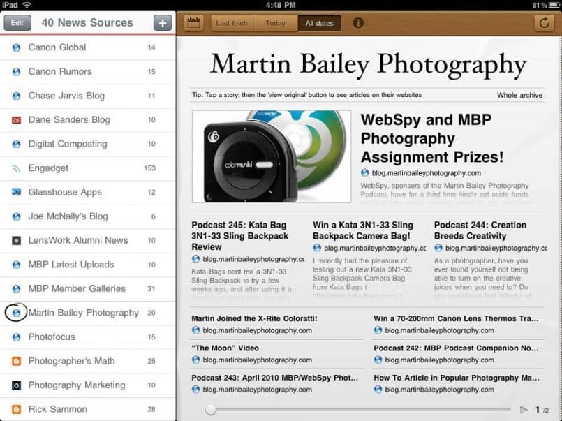 MBP Blog in Early Edition RSS Reader