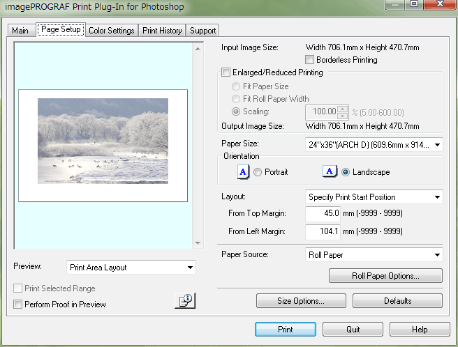 iPF6350 Photoshop Plugin Page Setup Screen