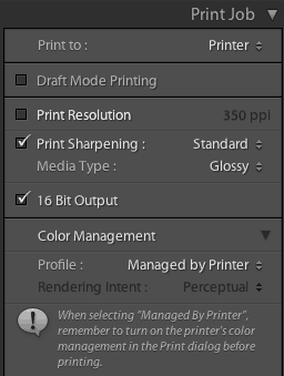 Lightroom Printer Settings for MG6130