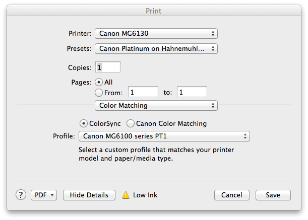 MG6130 Color Matching Settings