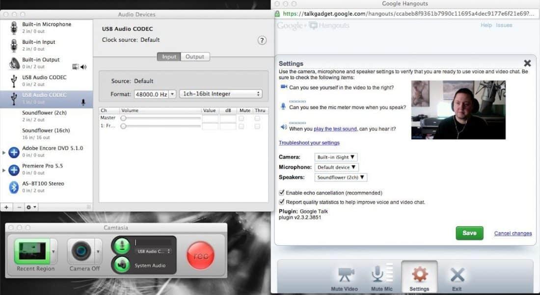 Google Hangout Recording Settings