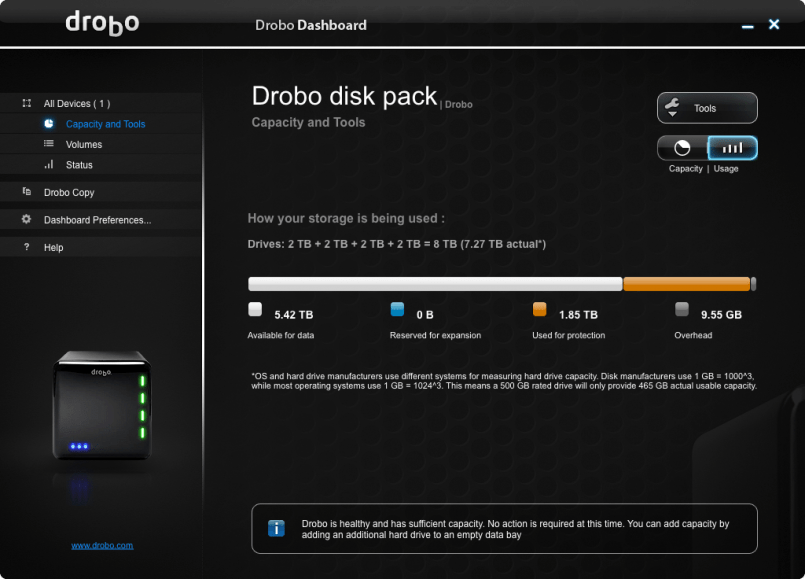 Drobo Capacity and Tools Menu