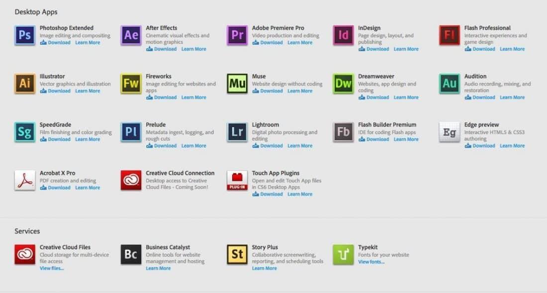 Creative Cloud Web Interface