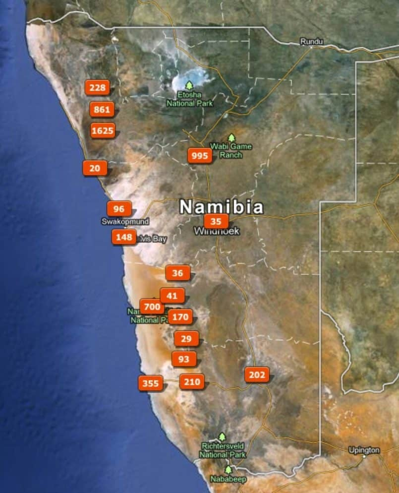 Namibia Trip Map