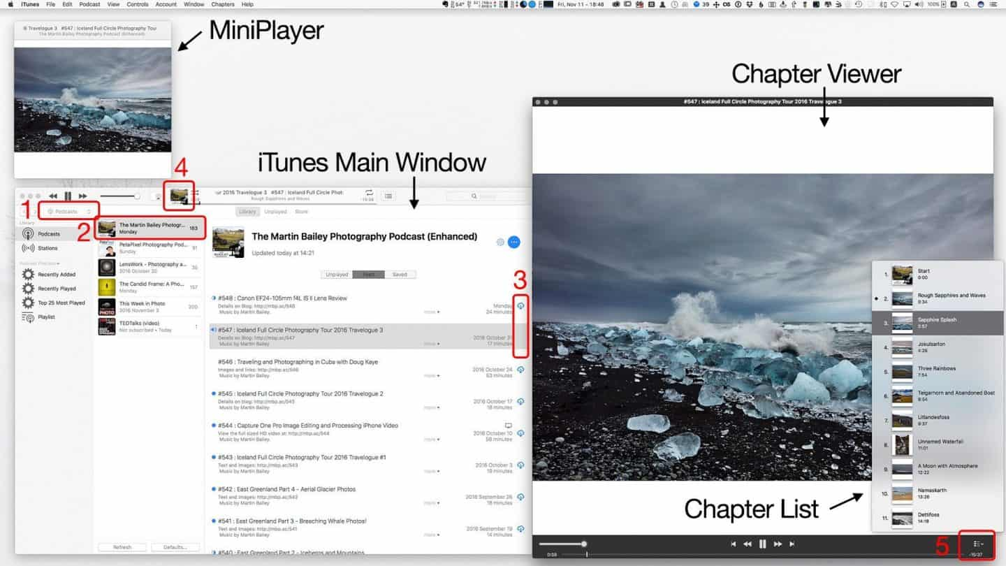 Viewing Enhanced Podcast Images in iTunes
