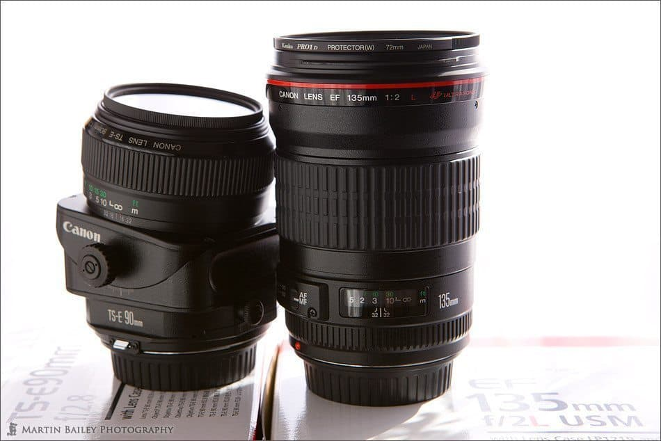 Canon EF 135 F2 L USM with TS-E 90mm F2.8 Lens