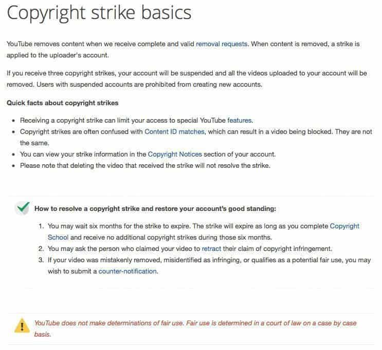 Copyright Strike Basics