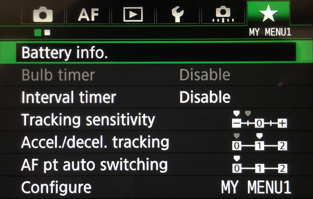 Canon EOS 5DSR Focus Settings in My Menu