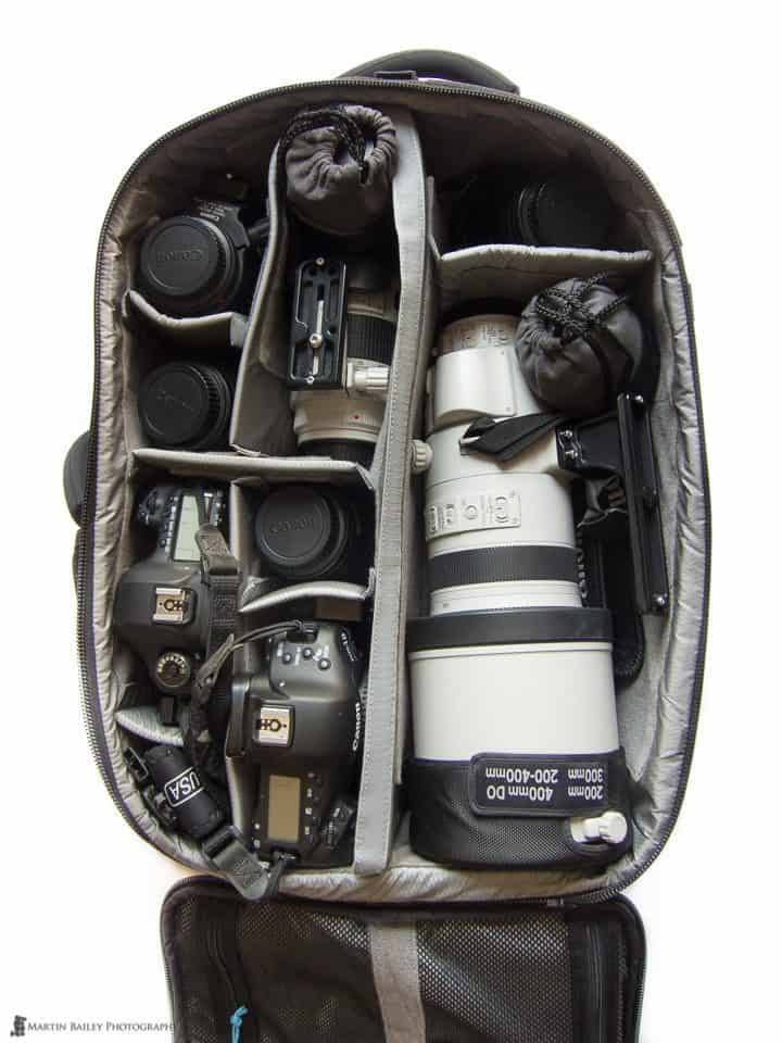 200-400mm f/4 Lens in a Gura Gear Bataflae 32L Backpack