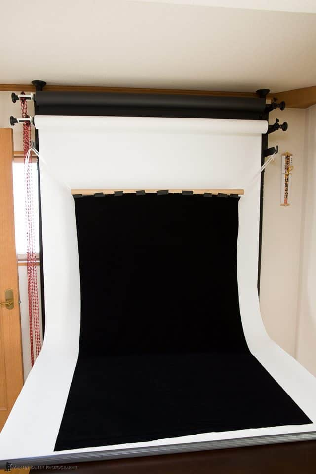 Draping a Black Velvet Background Cloth from the Expan System