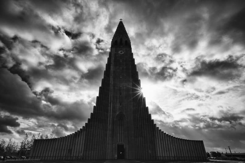 Hallgrímskirkja Church with Starburst