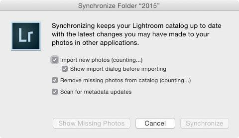 Lightroom Synchronize Folder