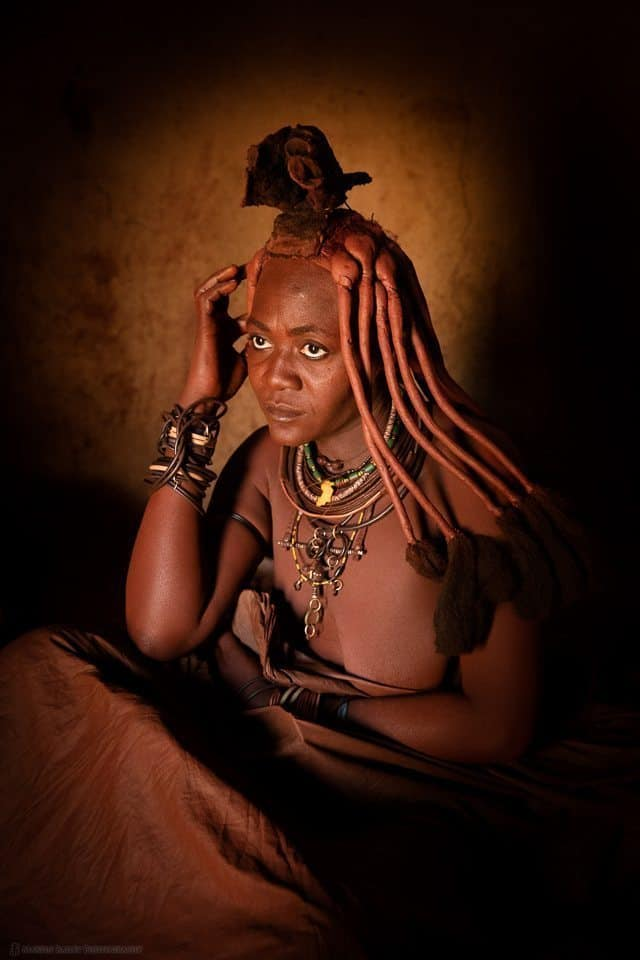 Himba Lady Taking Smoke Bath