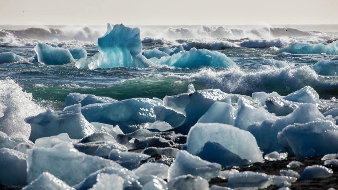 Iceberg and Growlers from Vatnajökull