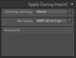Apply Metadata Preset During Import