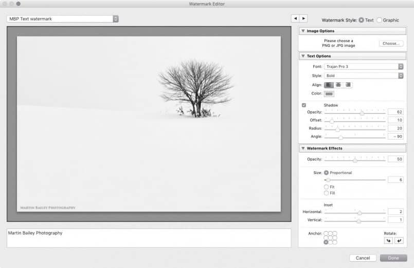 how to create a watermark lightroom