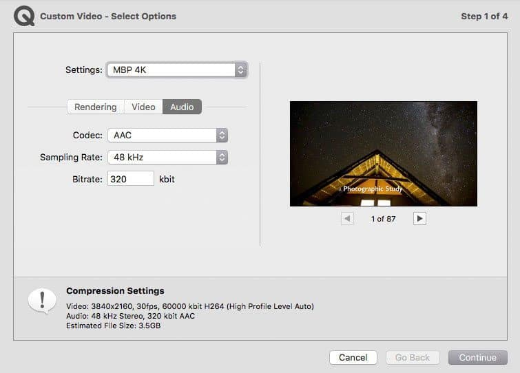 4K Video - Audio Settings