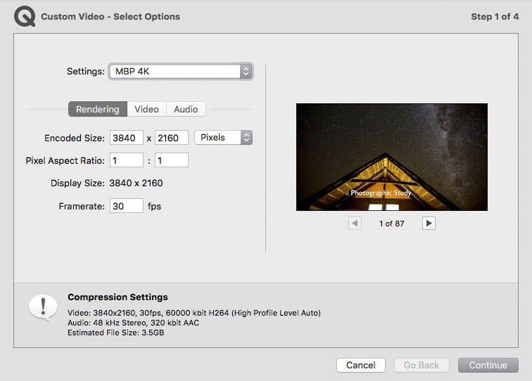 4K Video Rendering Settings