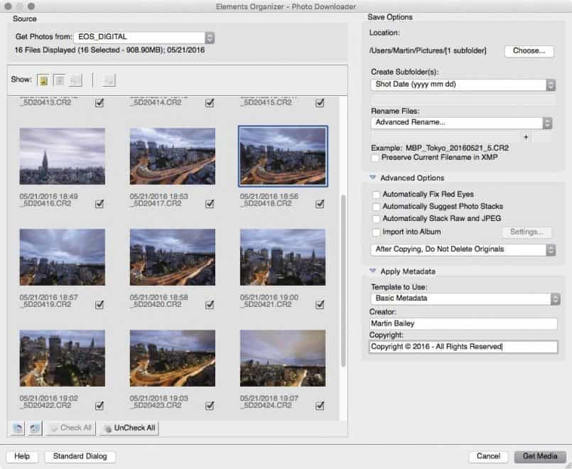 Photoshop Elements Import - Advanced Dialog