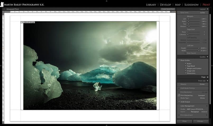 Resolution Information in Lightroom Print Module