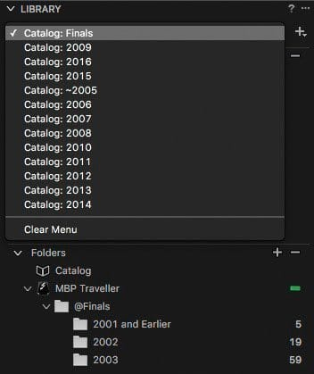 Catalog Selection Pulldown