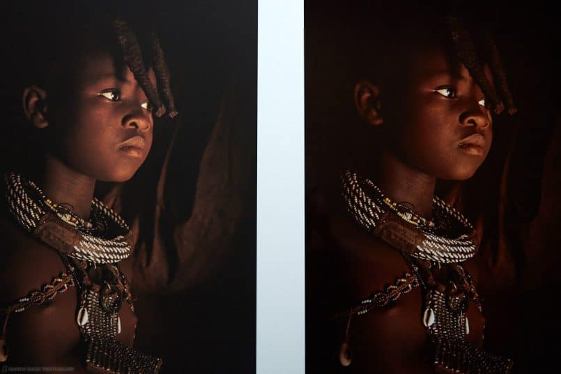 Himba Girl on Pura Bagasse Smooth (left) and Vibrance Metallic (