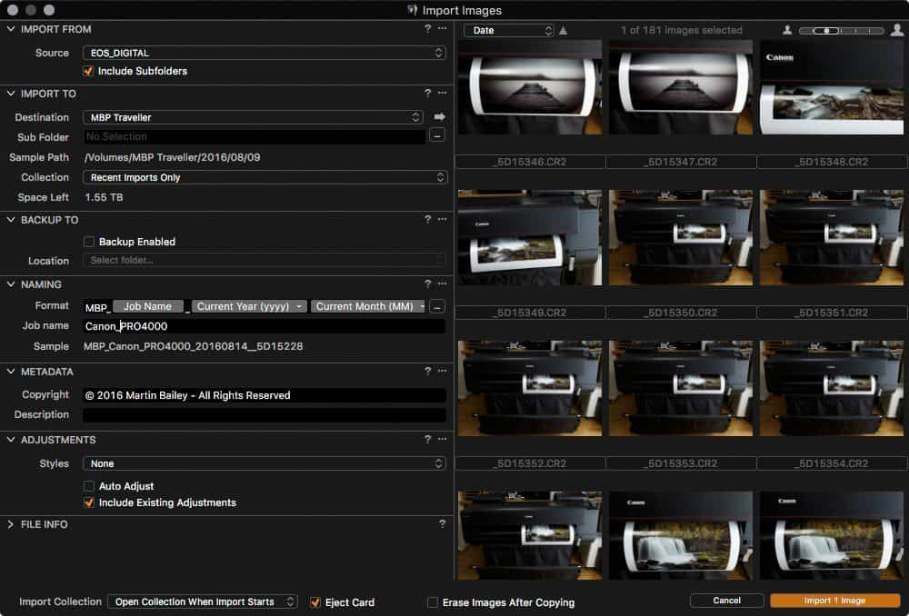 Capture One Pro Import Dialog