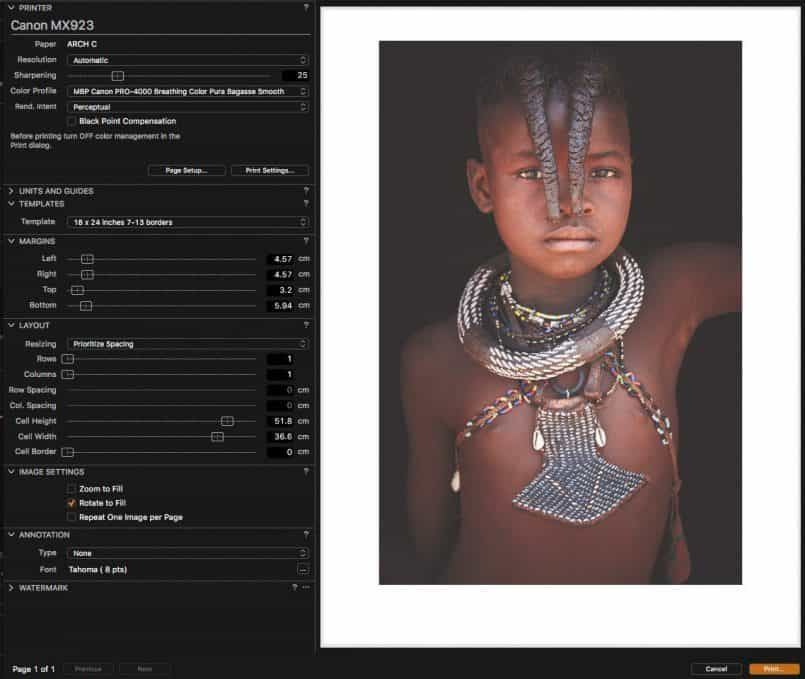 Printing from Capture One