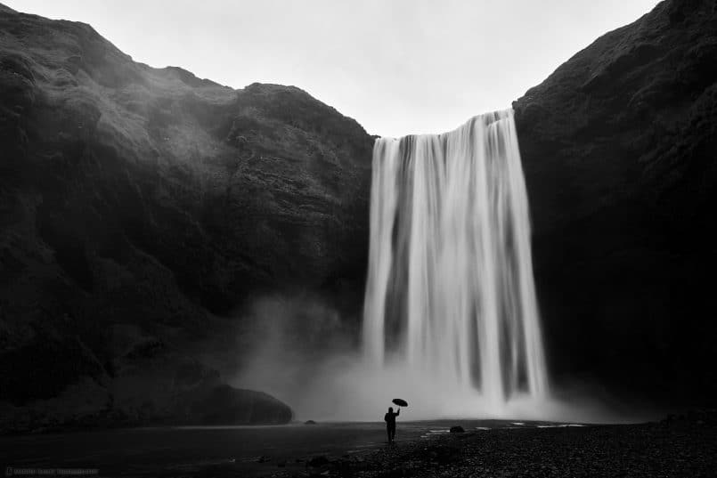 Umbrella Man at Skógafoss
