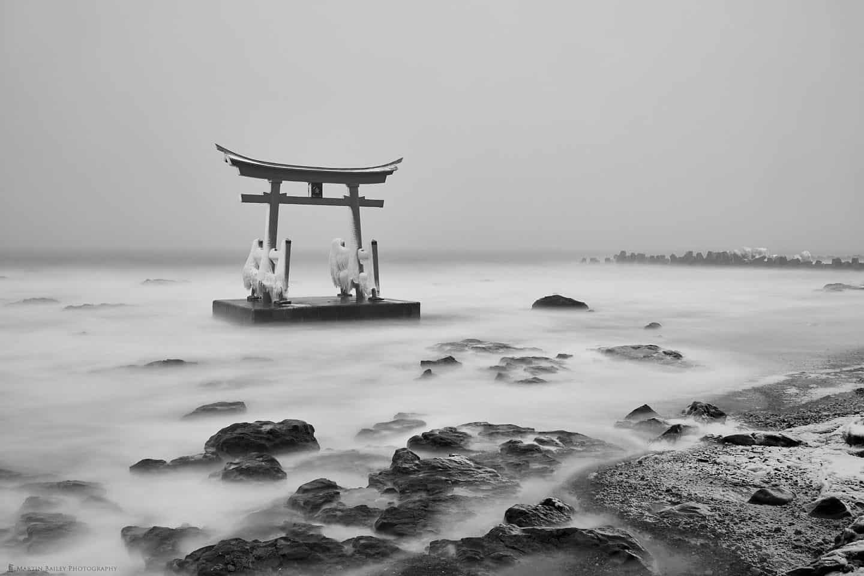 Konpira Shrine Torii and Icy Beach