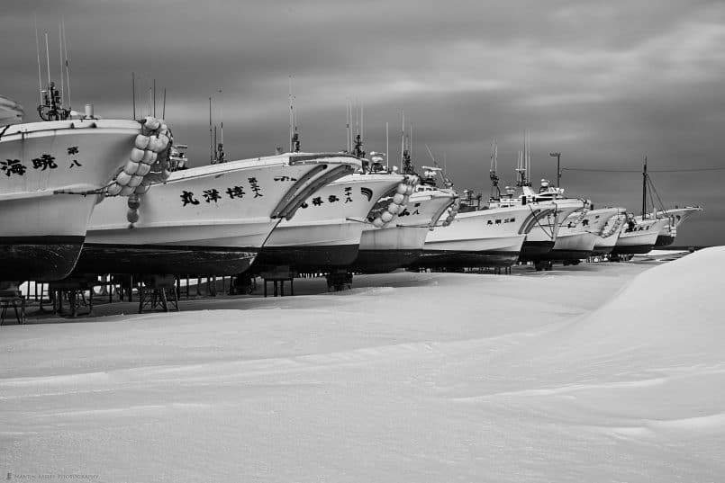 Fishing Boats in Snow