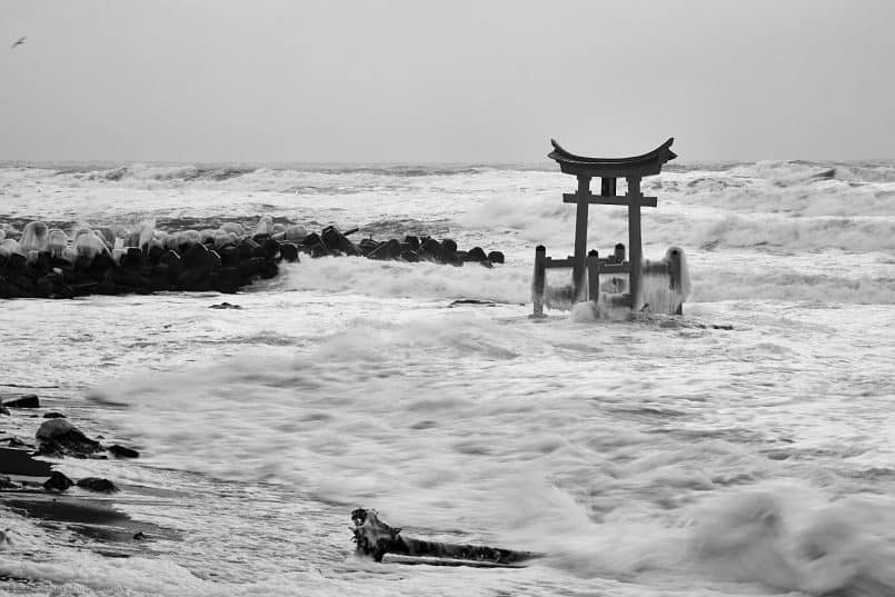 Konpira Shrine Torii in Storm