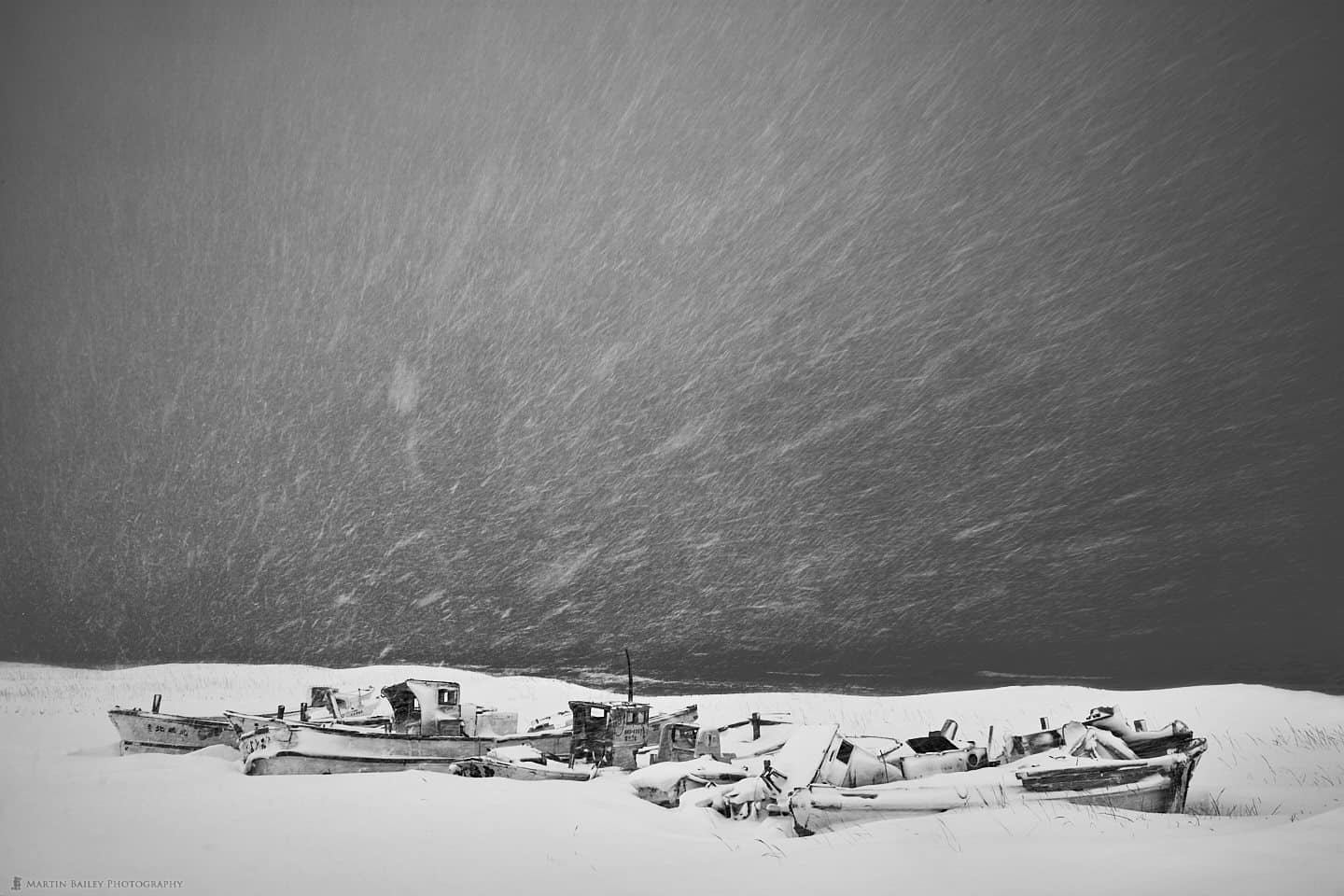 Boat Graveyard in Driving Snow