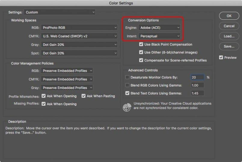Adobe Photoshop Color Settings Dialog