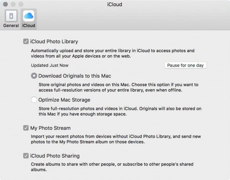 Apple Photos iCloud Settings