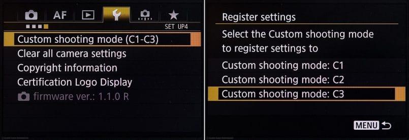 Canon EOS 5Ds R Registering Custom Settings