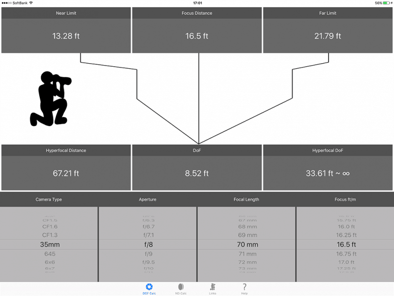 DoF Calc iPad Landscape