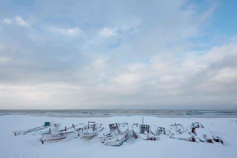 Boat Graveyard with Big Sky - Original