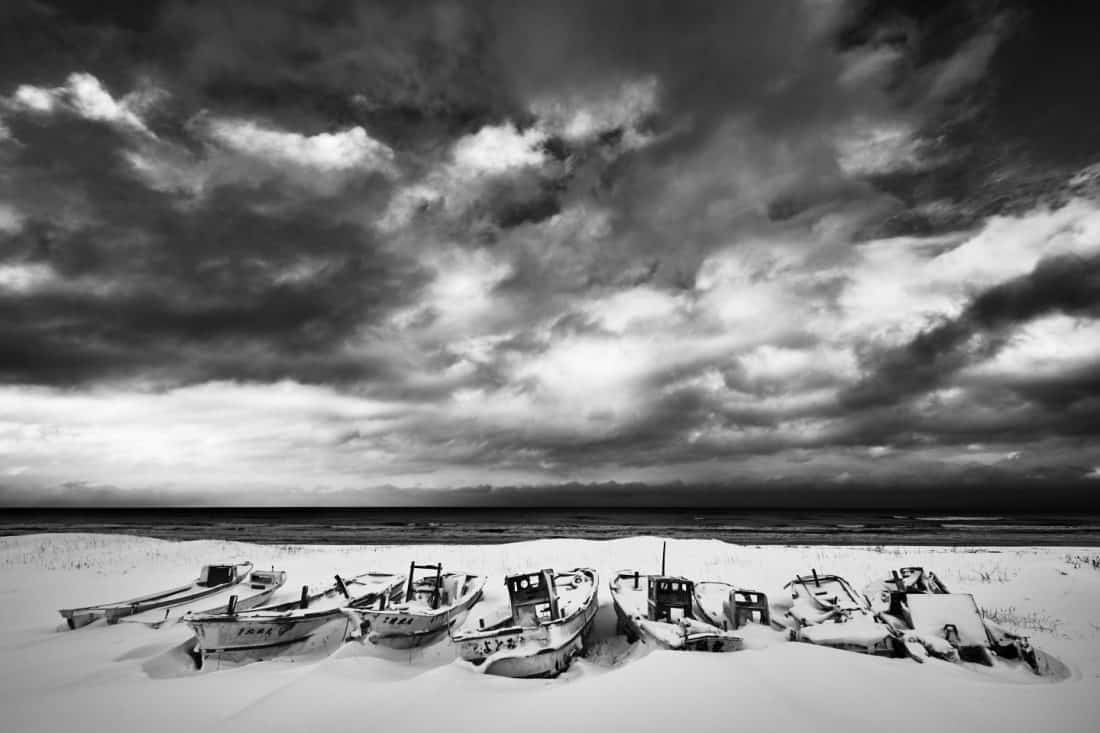 Boat Graveyard with Big Sky