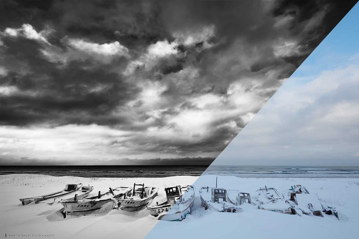 Boat Graveyard with Big Sky - Before / After