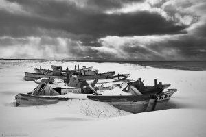 Boat Graveyard and Sun Beams