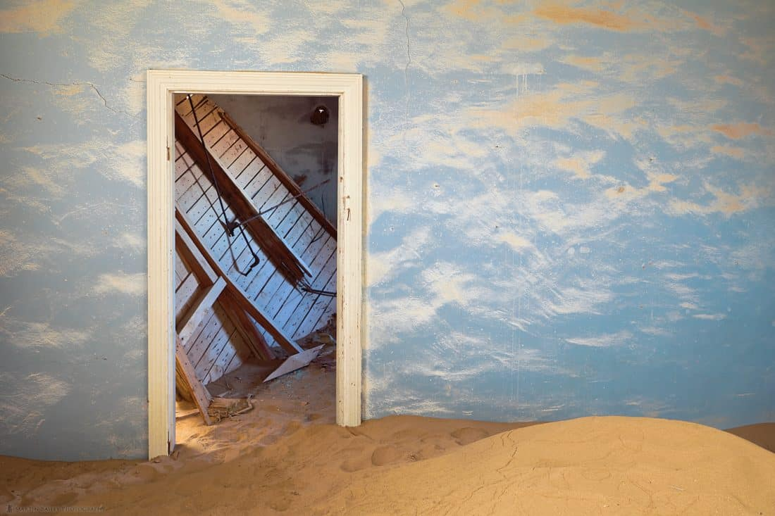 Blue Wall and Collapsed Ceiling