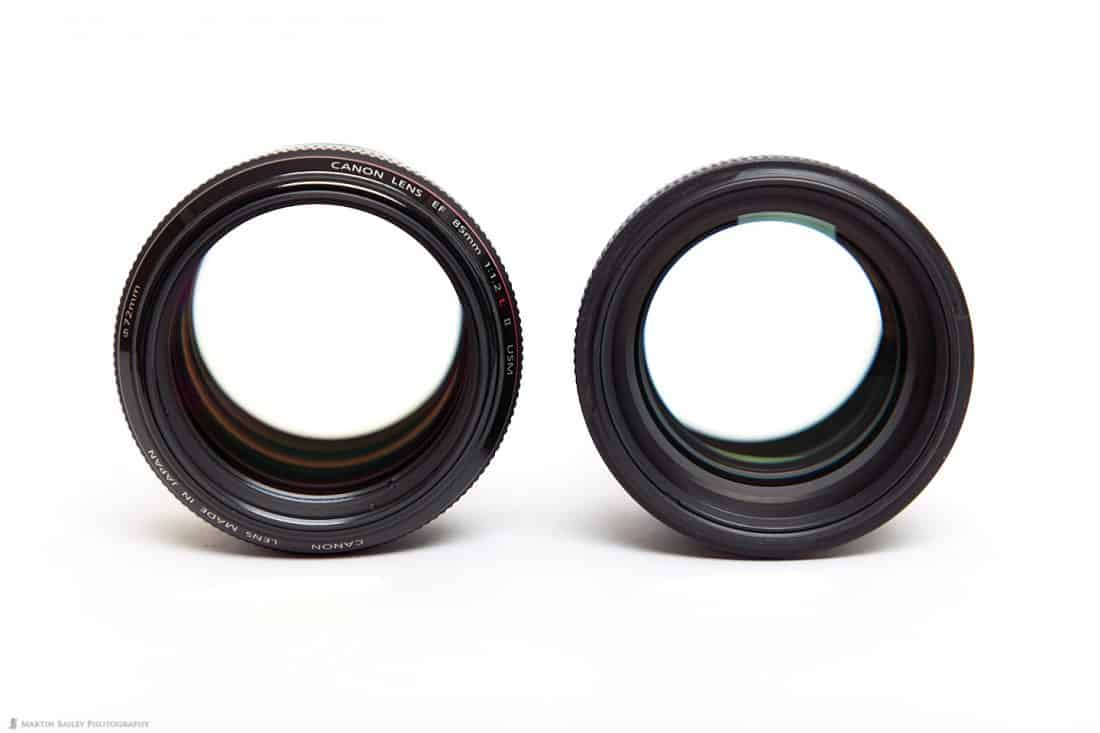 Canon EF 85mm f/1.2L II lens (left) and f/1.4L IS Lens (right)