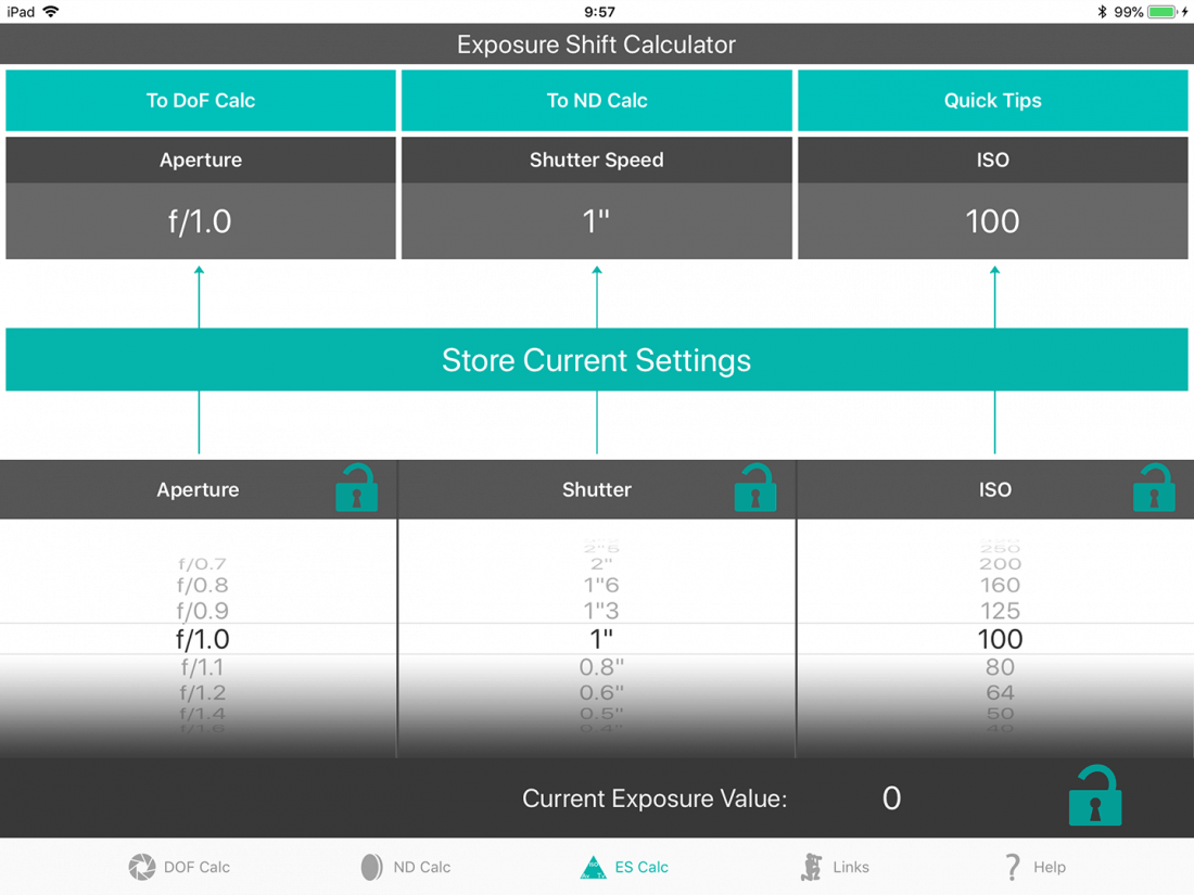 Exposure Shift Calculator EV0