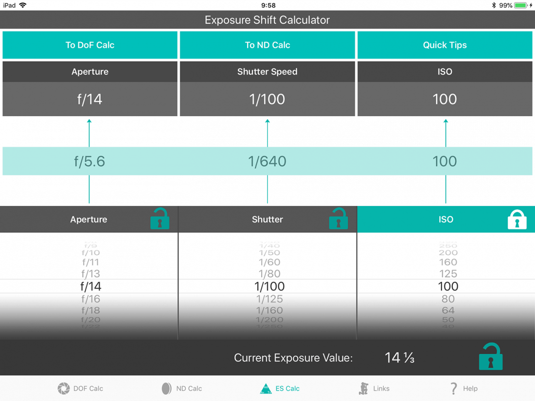 Exposure Shift Calculator at EV 14 2/3 ISO100